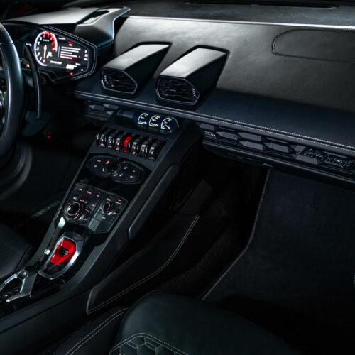 Inside White Lamborghini Huracan Spyder
