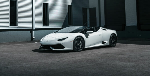 White Lamborghini Huracan Spider Top Down