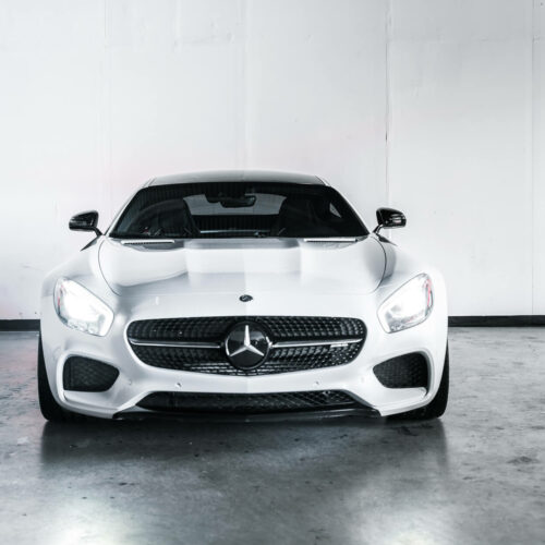 White Mercedes-Benz AMG GTS Front End